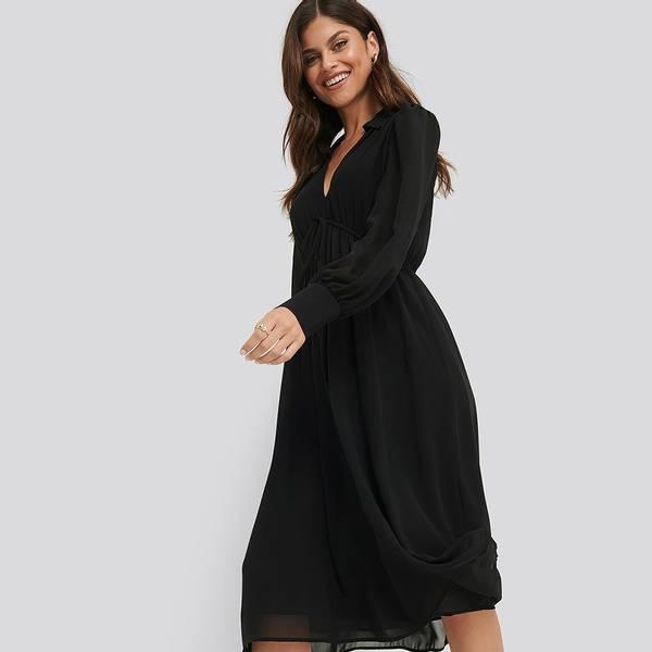 Bilde av NA-KD - Sheer Midi Dress Svart